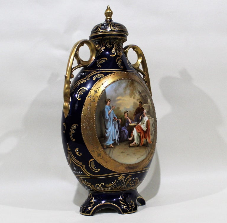 20th Century Royal Vienna Lidded Vase or Urn For Sale