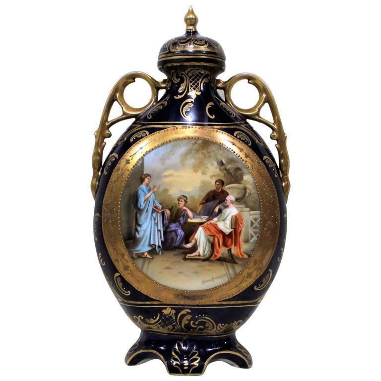 Royal Vienna Lidded Vase or Urn For Sale