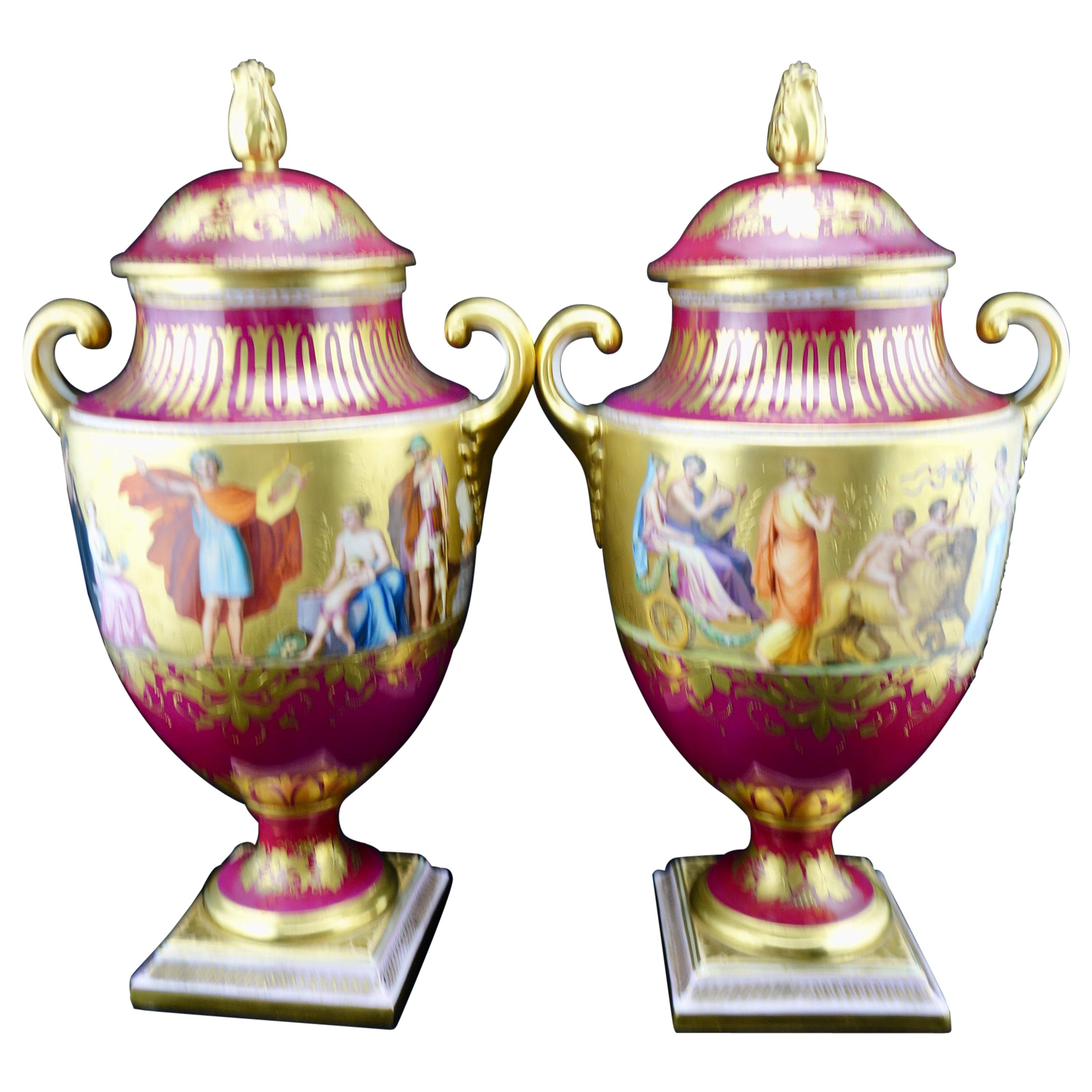 Royal Vienna Pair of Finely Painting and Gilded Covered Vases, circa 1860-1880