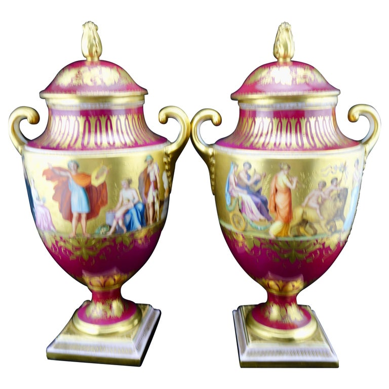 Royal Vienna Pair of Finely Painting and Gilded Covered Vases, circa 1860-1880 For Sale