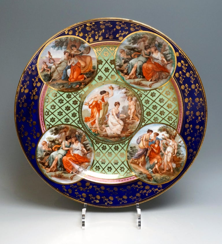 Classical Greek  Royal Vienna Pair of Splendour Plates with Bacchant Scenes, circa 1880 For Sale