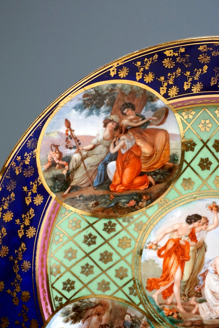 Hand-Painted  Royal Vienna Pair of Splendour Plates with Bacchant Scenes, circa 1880 For Sale
