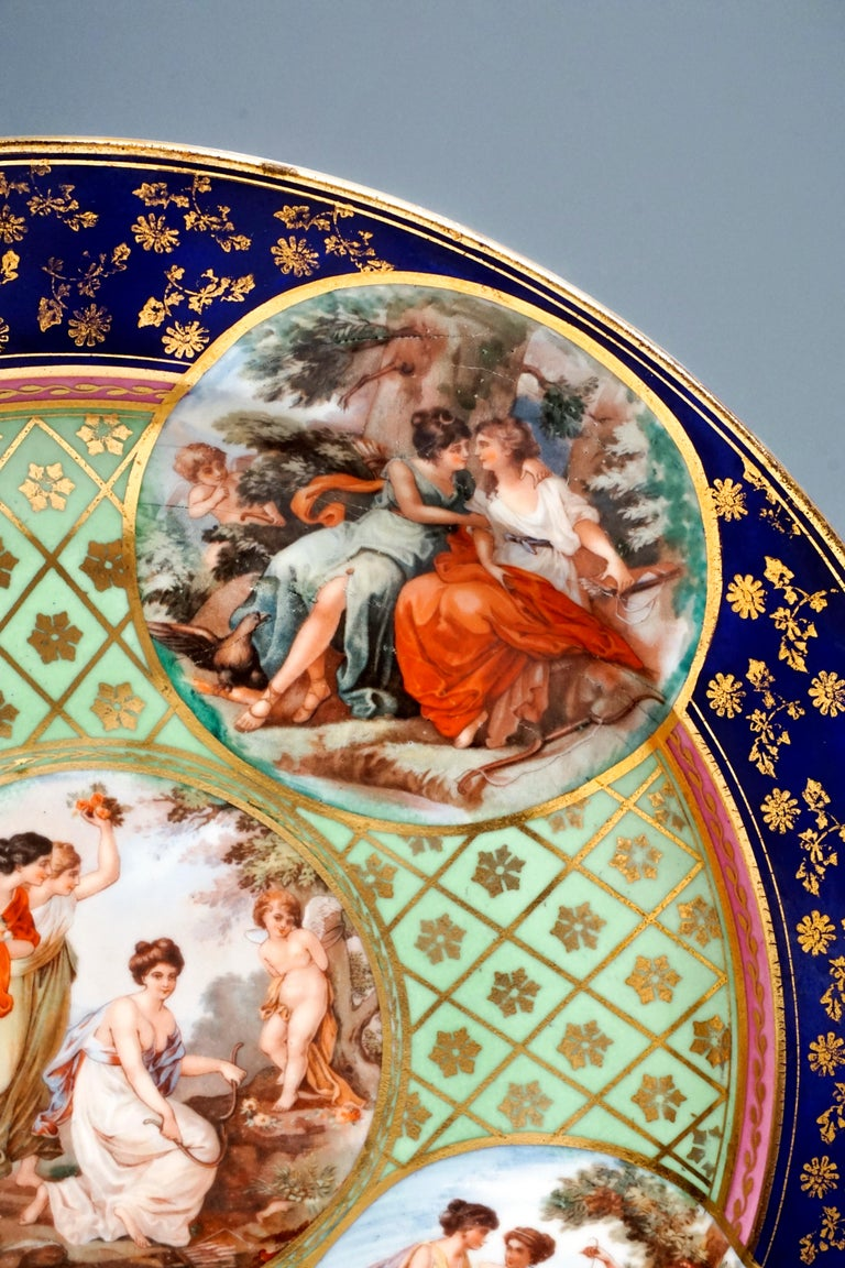 Royal Vienna Pair of Splendour Plates with Bacchant Scenes, circa 1880 In Good Condition For Sale In Vienna, AT