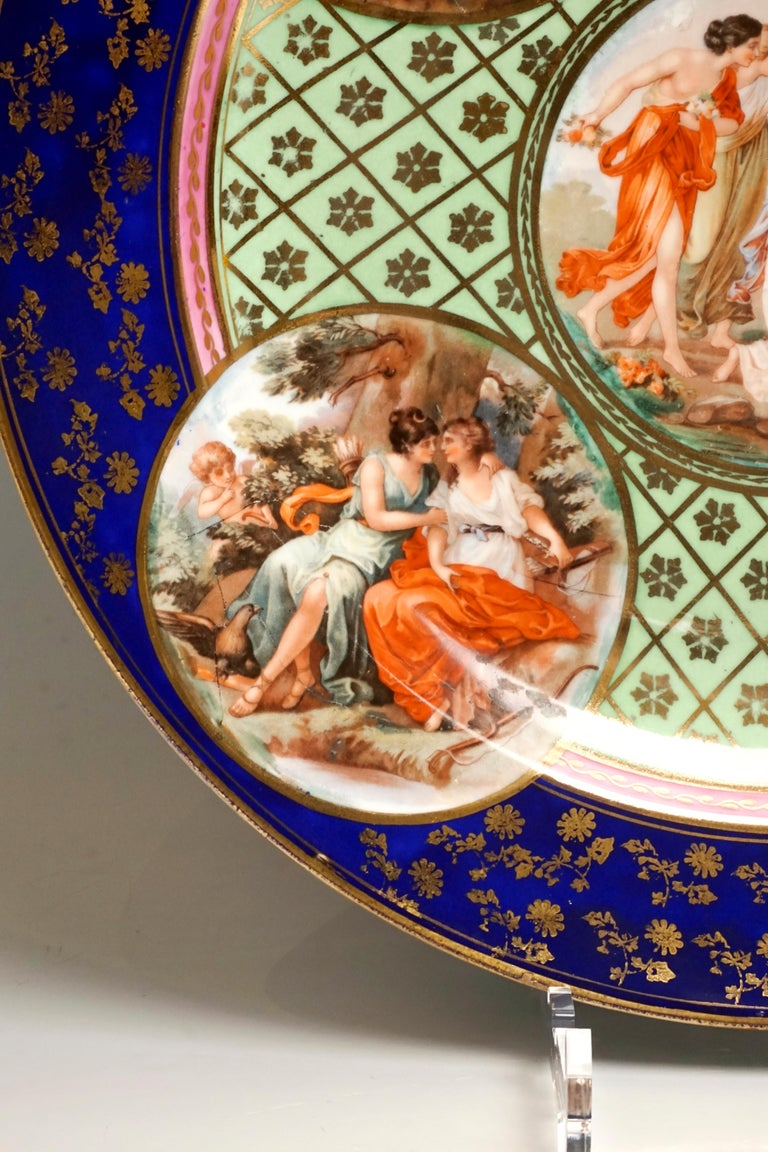 Late 19th Century  Royal Vienna Pair of Splendour Plates with Bacchant Scenes, circa 1880 For Sale