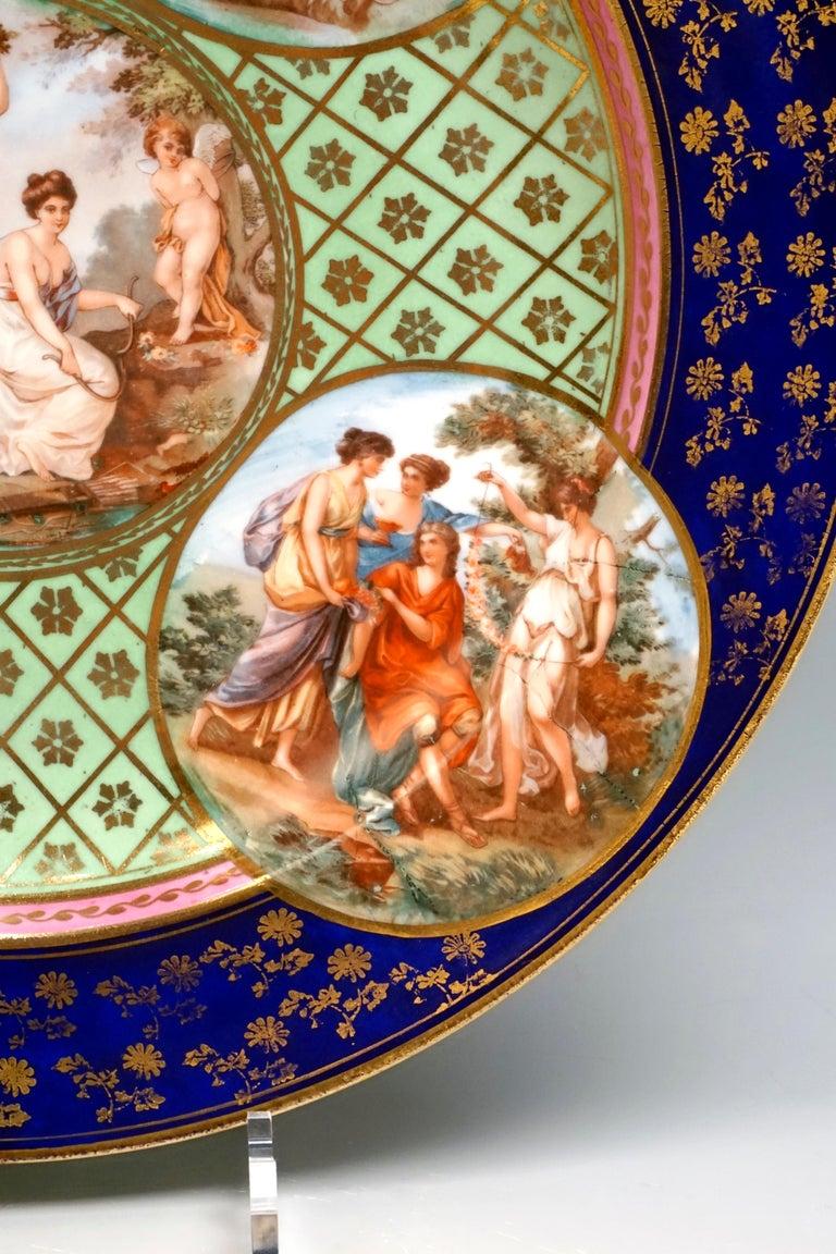 Porcelain  Royal Vienna Pair of Splendour Plates with Bacchant Scenes, circa 1880 For Sale