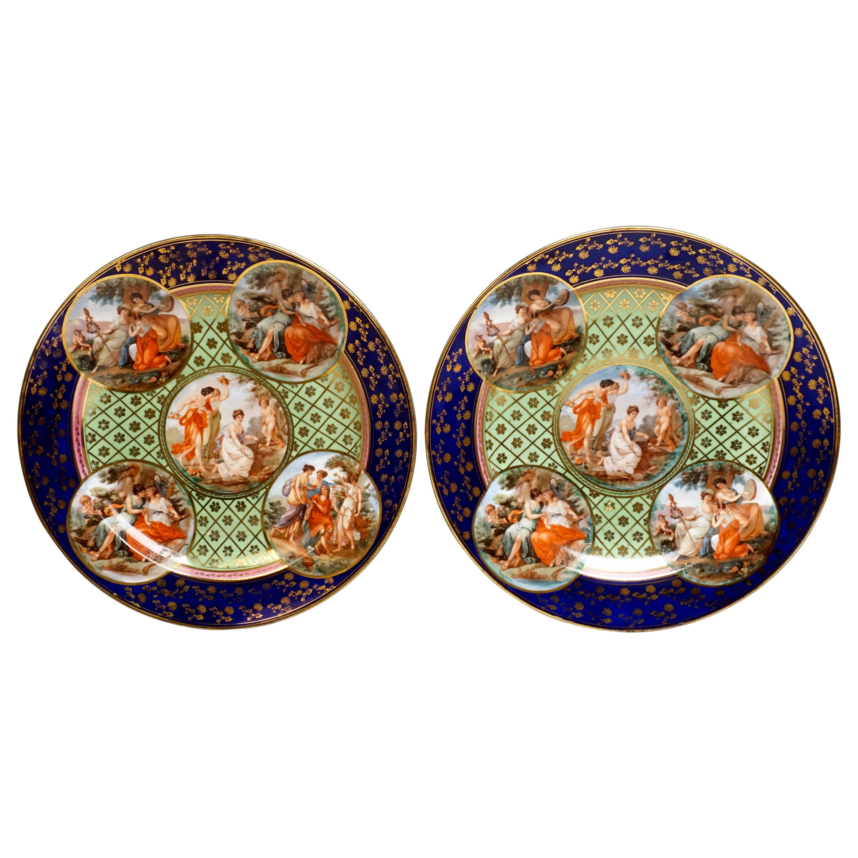 Royal Vienna Pair of Splendour Plates with Bacchant Scenes, circa 1880