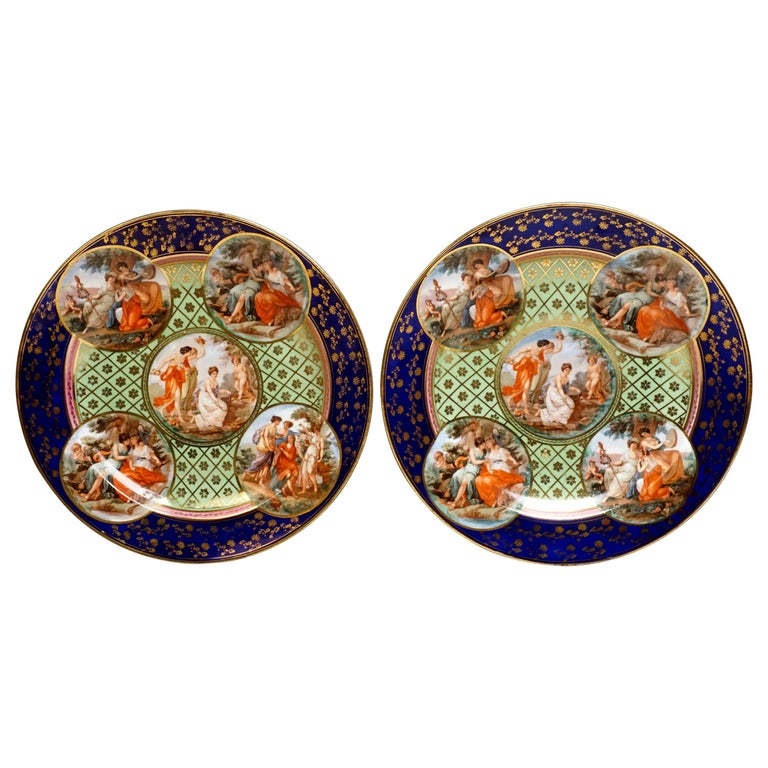 Royal Vienna Pair of Splendour Plates with Bacchant Scenes, circa 1880 For Sale