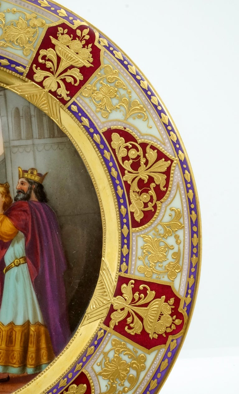 Art Nouveau Royal Vienna Picture Plate 'Lohengrin' Painted by Franz Wagner, circa 1900 For Sale