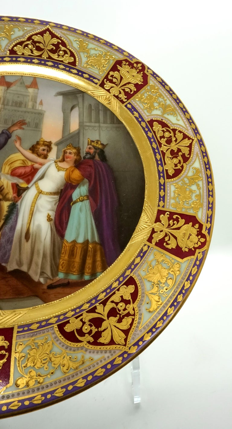 Austrian Royal Vienna Picture Plate 'Lohengrin' Painted by Franz Wagner, circa 1900 For Sale