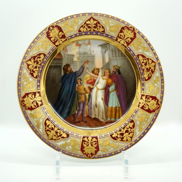 Porcelain Royal Vienna Picture Plate 'Lohengrin' Painted by Franz Wagner, circa 1900 For Sale