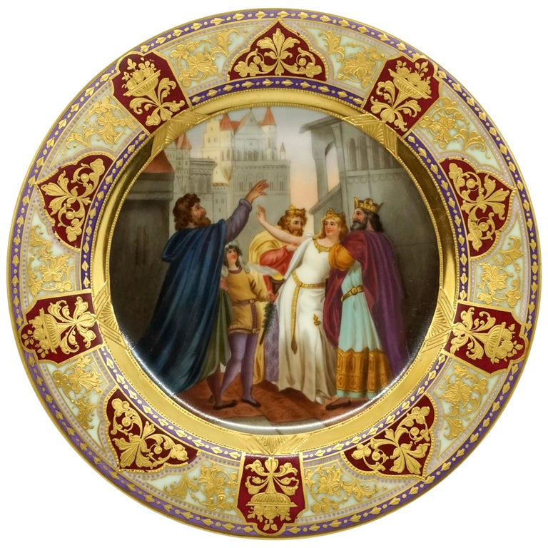 Royal Vienna Picture Plate 'Lohengrin' Painted by Franz Wagner, circa 1900 For Sale
