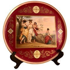 Royal Vienna Plaque Painted with Four Ladies with Flower Baskets on Their Heads
