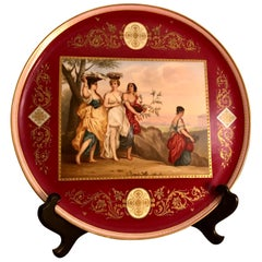 """""""Royal Vienna"""" Plaque Painted with 4 Ladies with Flower Baskets on Their Heads"""