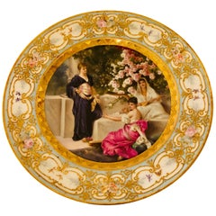 Royal Vienna Plate of 3 Beautiful Ladies and Cherry Blossoms in the Background