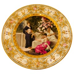 """Royal Vienna"" Plate of 3 Beautiful Ladies and Cherry Blossoms in the Background"