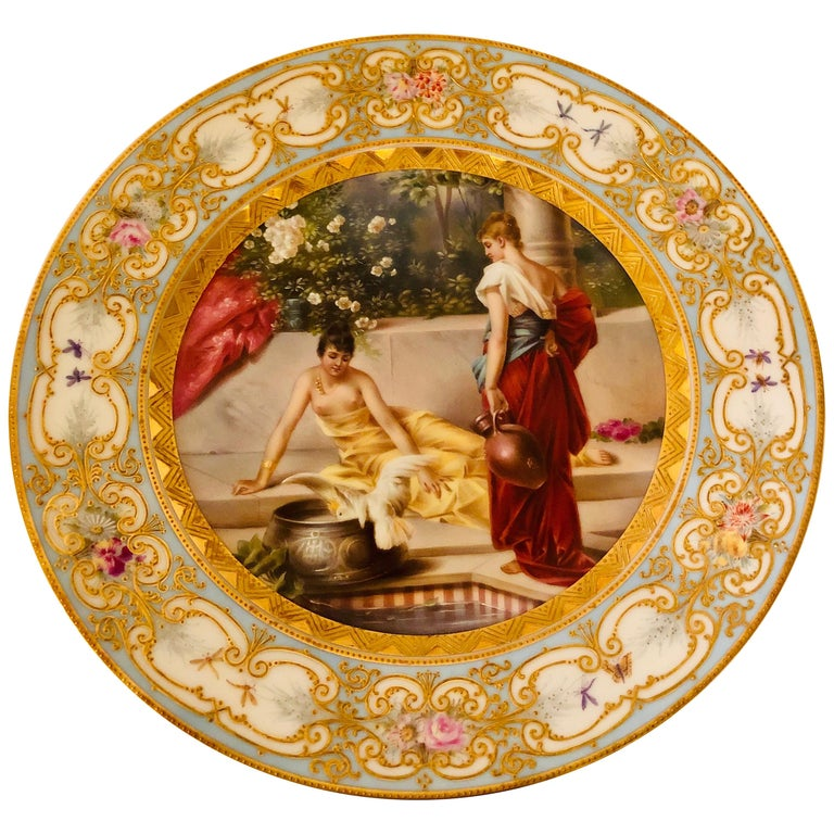 Royal Vienna Plate Painted with Two Ladies and a Bird at a Tiled Watering Hole For Sale