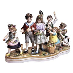 Royal Vienna Porcelain Group of Children Playing Wedding, ca. 1915