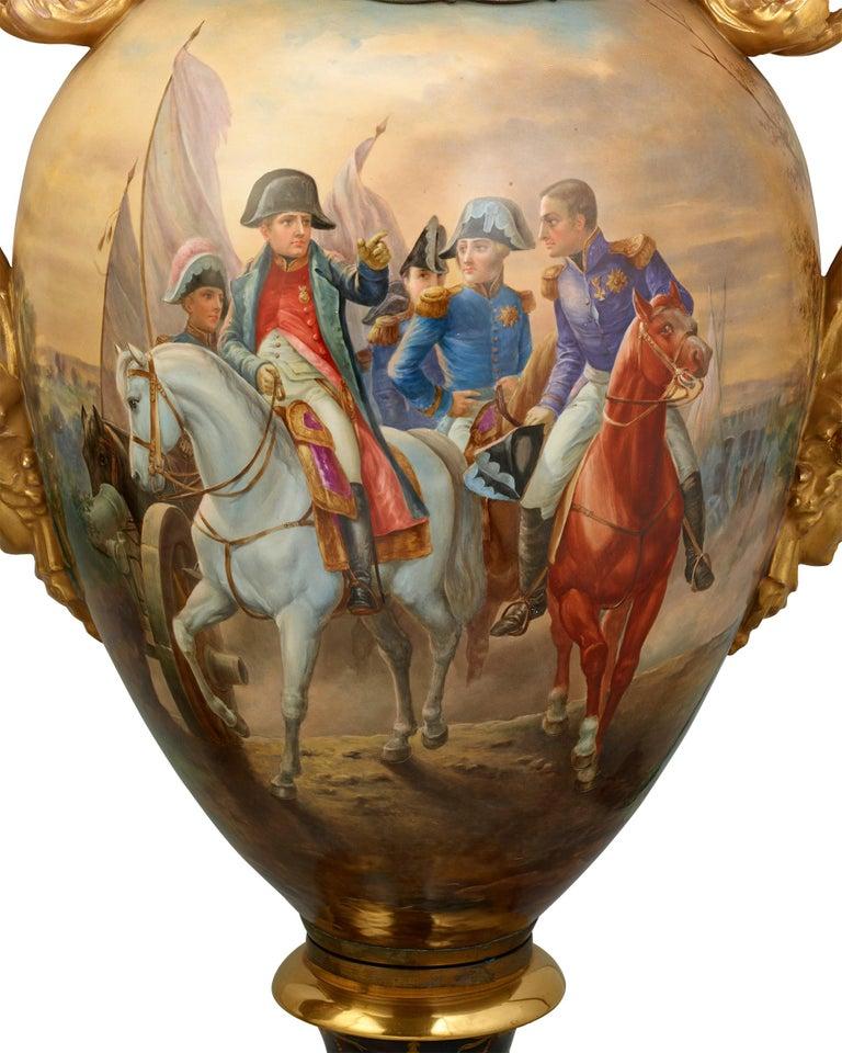 Napoleon III Royal Vienna Porcelain Napoleonic Urns For Sale