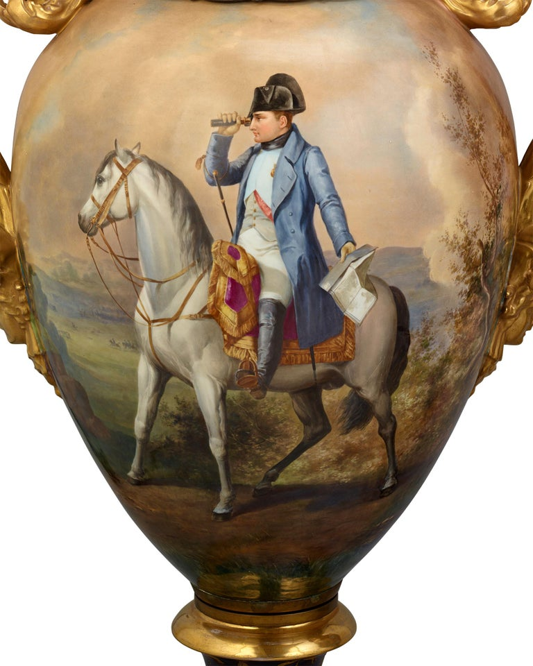 Austrian Royal Vienna Porcelain Napoleonic Urns For Sale