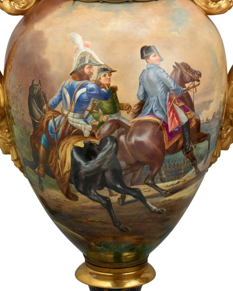 Hand-Painted Royal Vienna Porcelain Napoleonic Urns For Sale