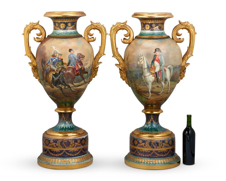19th Century Royal Vienna Porcelain Napoleonic Urns For Sale