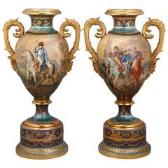 Royal Vienna Porcelain Napoleonic Urns