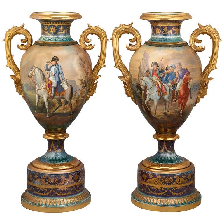 Royal Vienna Porcelain Napoleonic Urns For Sale