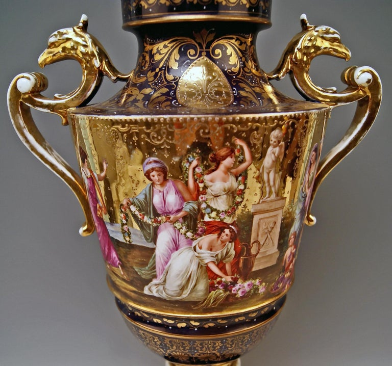 Glazed Royal Vienna Porcelain Two-Handled Goblet Golden Painted ca. 1890  height: 24 in For Sale