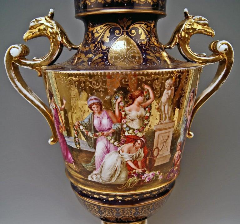 Glazed Royal Vienna Porcelain Two-Handled Goblet Golden Painted, 1890 For Sale