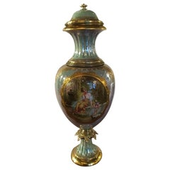 Royal Vienna Porcelain Urn Painted with Neoclassical Woman and Angel in Garden