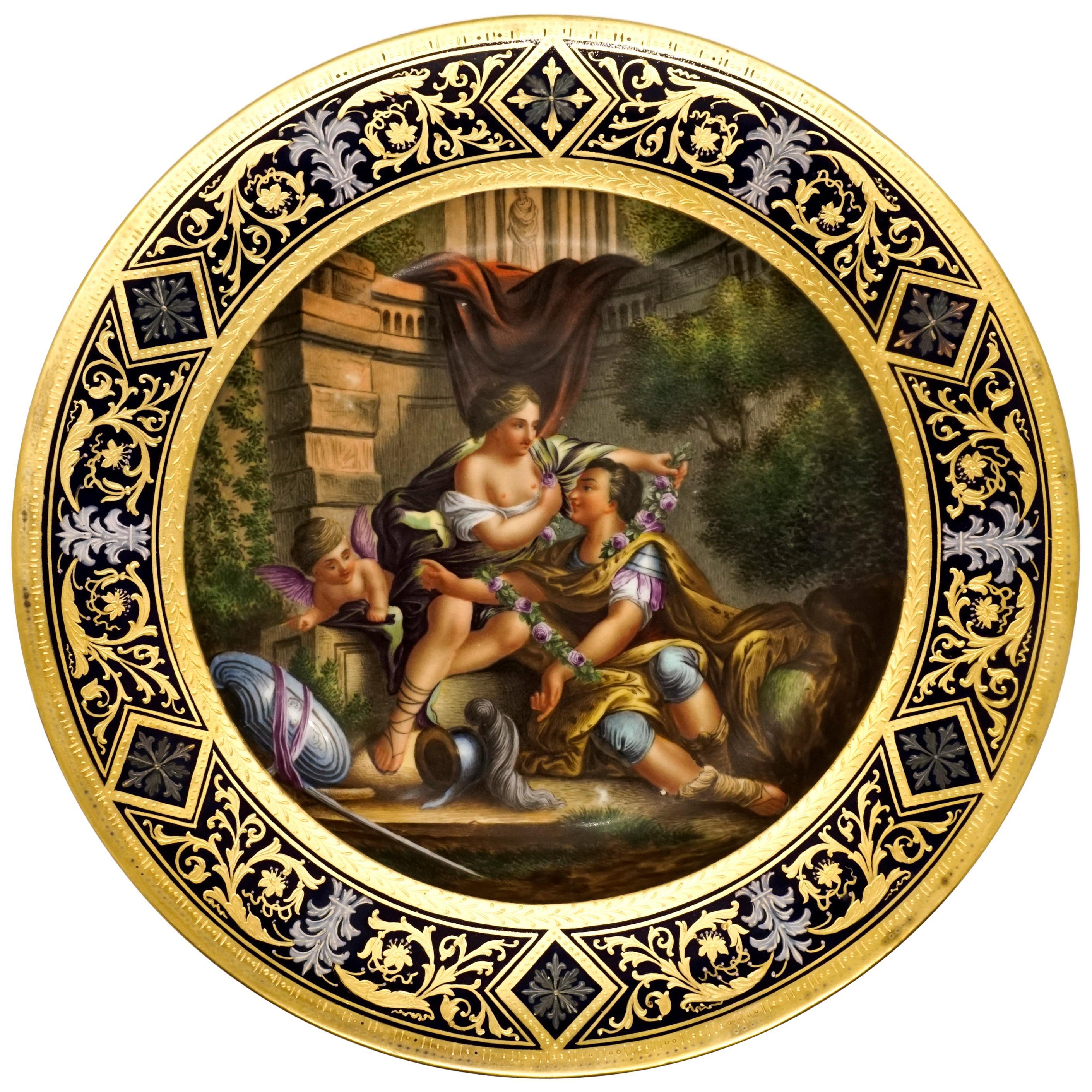 Royal Vienna Splendour Plate 'Roman Courting Scene With Cupid', circa 1890