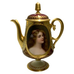 Royal Vienna Style German Hand Painted Portrait Teapot