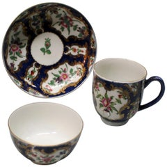 Royal Worcester 18th Century Blue Scale Trio with Floral Panels
