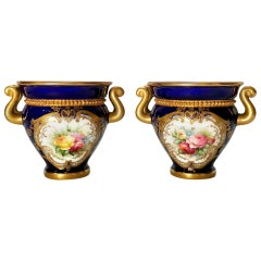 Royal Worcester 2 Porcelain Glaux Vases, Mazarine Blue, Flowers by H Chair, 1905