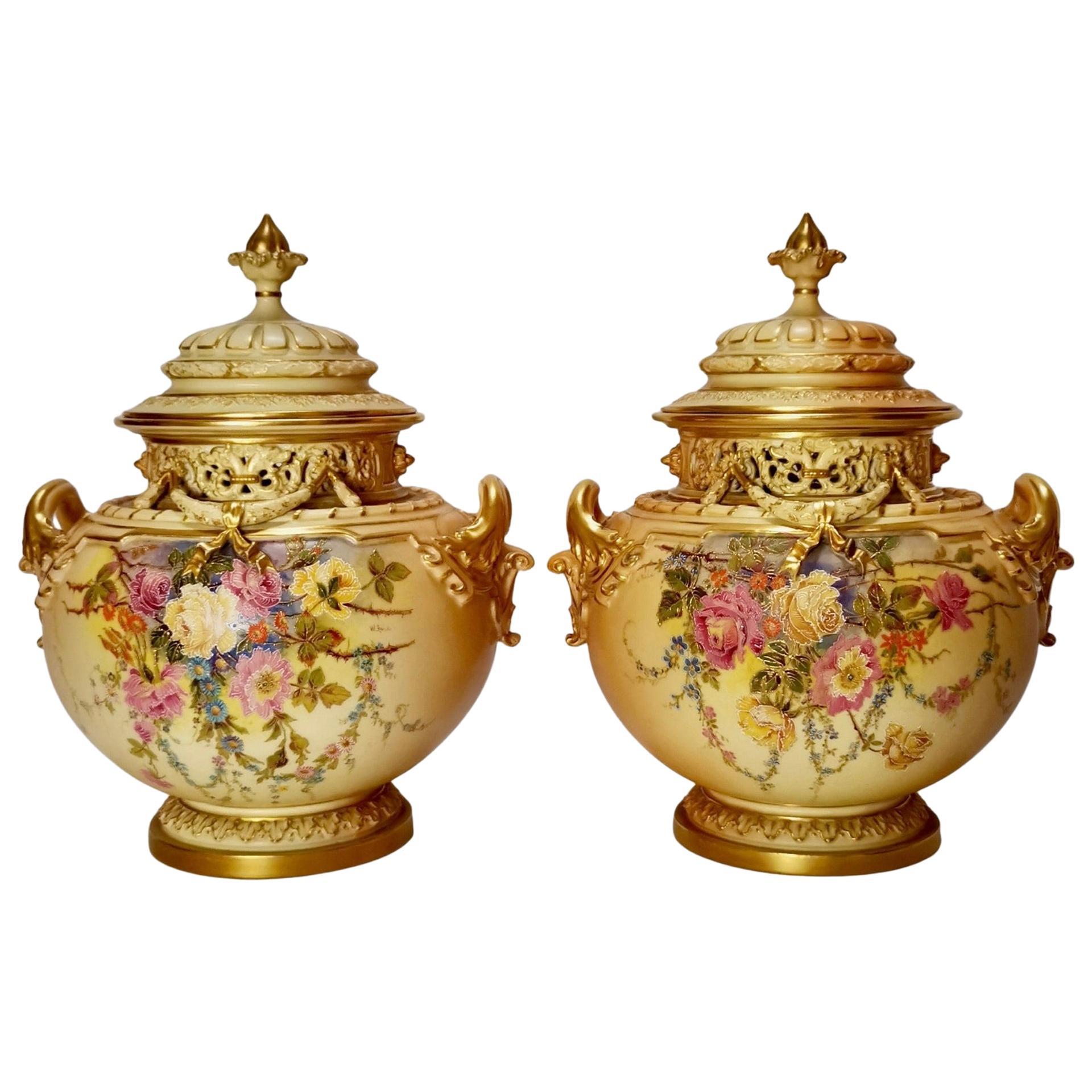 Royal Worcester Pair Porcelain Potpourri Vases, Blush Ivory Signed W. Hale, 1909