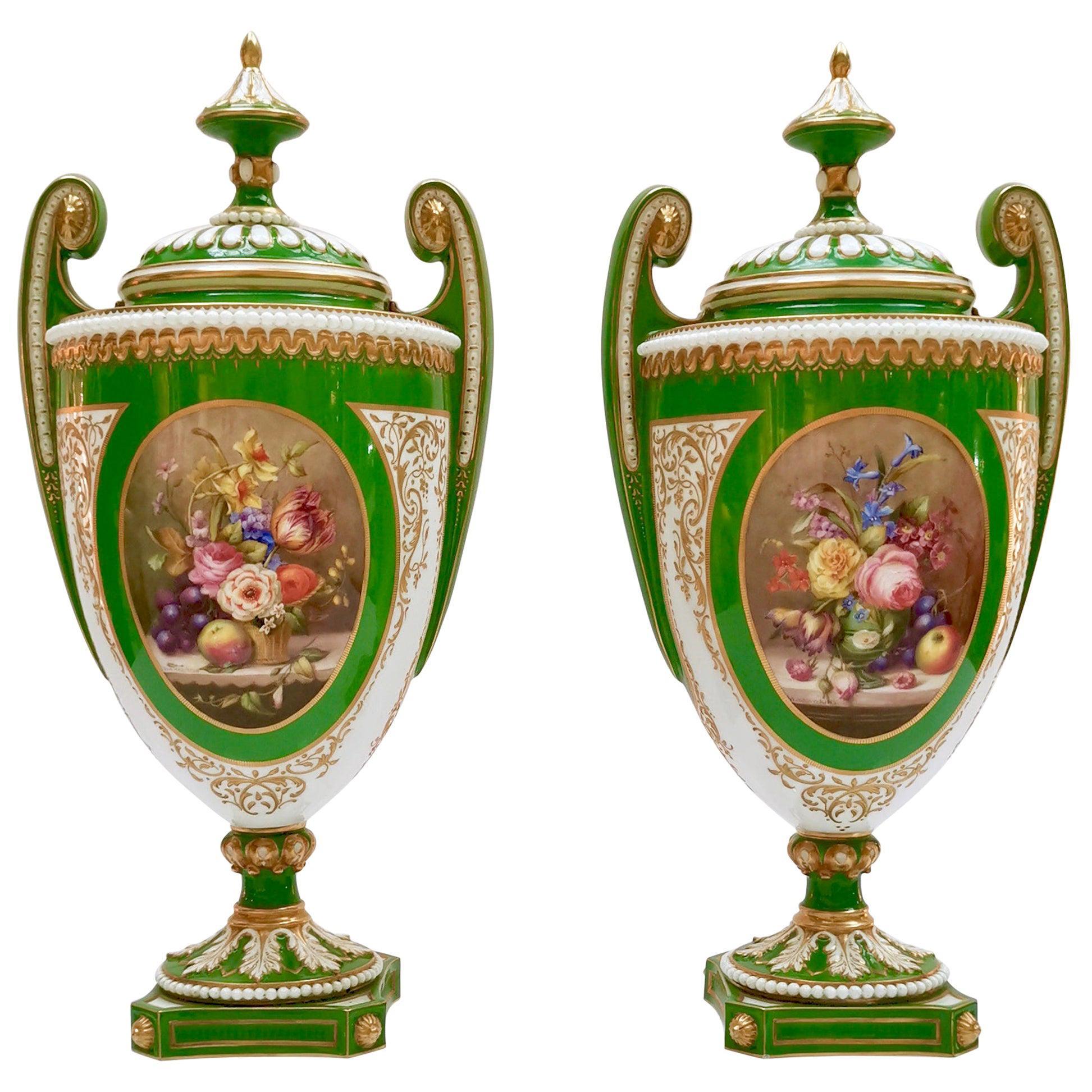 Royal Worcester 2 Porcelain Vases, Green Floral, Signed William Hawkins, 1907