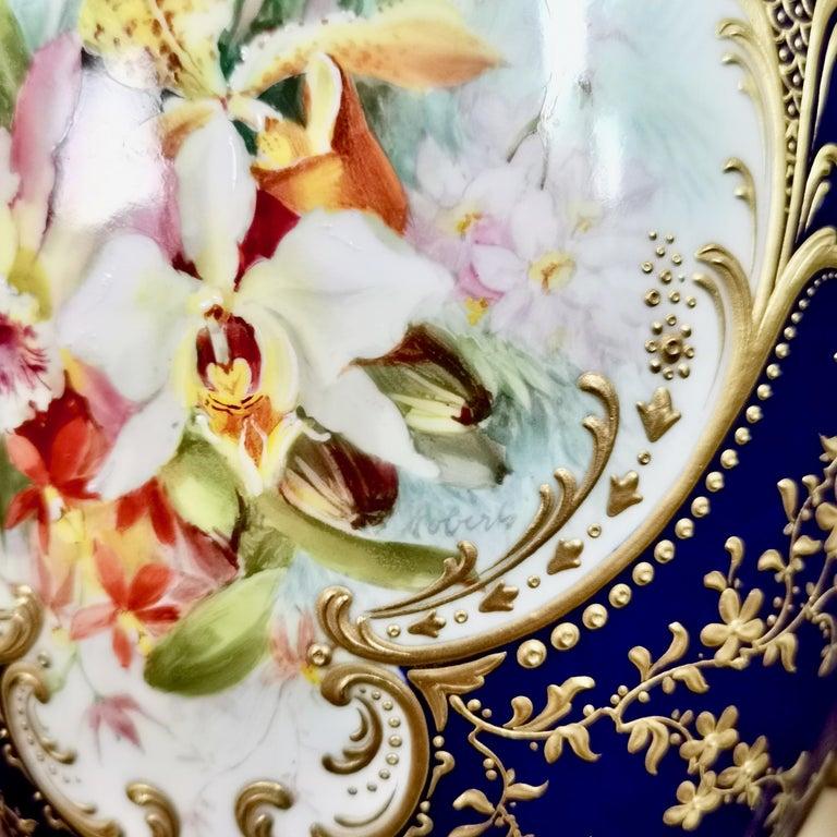Royal Worcester 2 Porcelain Vases, Mazarine Blue, Orchids Signed F Roberts, 1901 For Sale 2