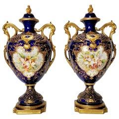 Royal Worcester 2 Porcelain Vases, Mazarine Blue, Orchids Signed F Roberts, 1901