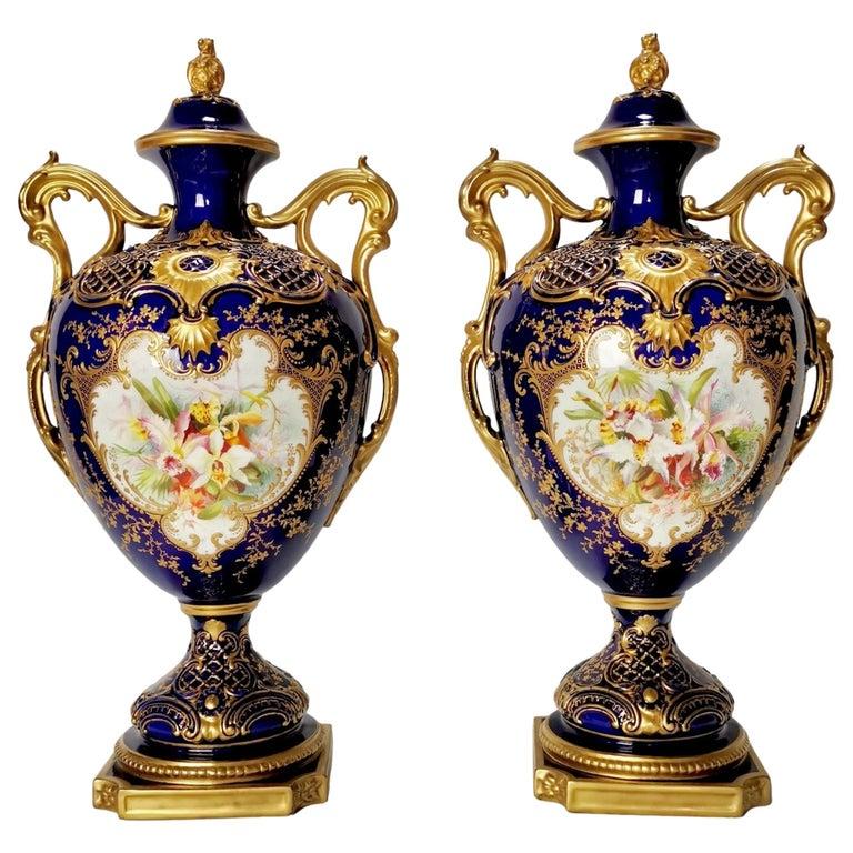 Royal Worcester 2 Porcelain Vases, Mazarine Blue, Orchids Signed F Roberts, 1901 For Sale