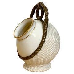 Royal Worcester Aesthetic Basketweave Amphora Spill Vase, 1883
