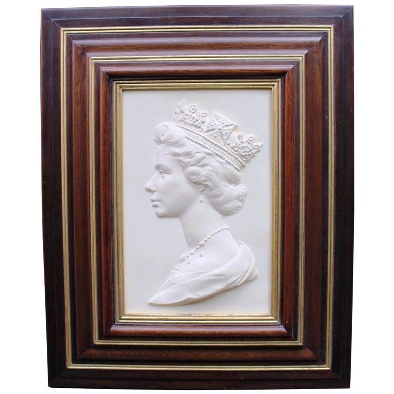 Royal Worcester Arnold Machin Framed Plaque of Queen Elizabeth II