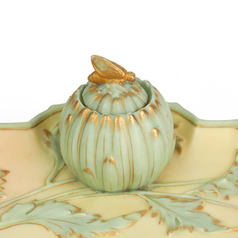 Royal Worcester Art Nouveau Blush Porcelain Desk Stand Dated 1894 For Sale 7