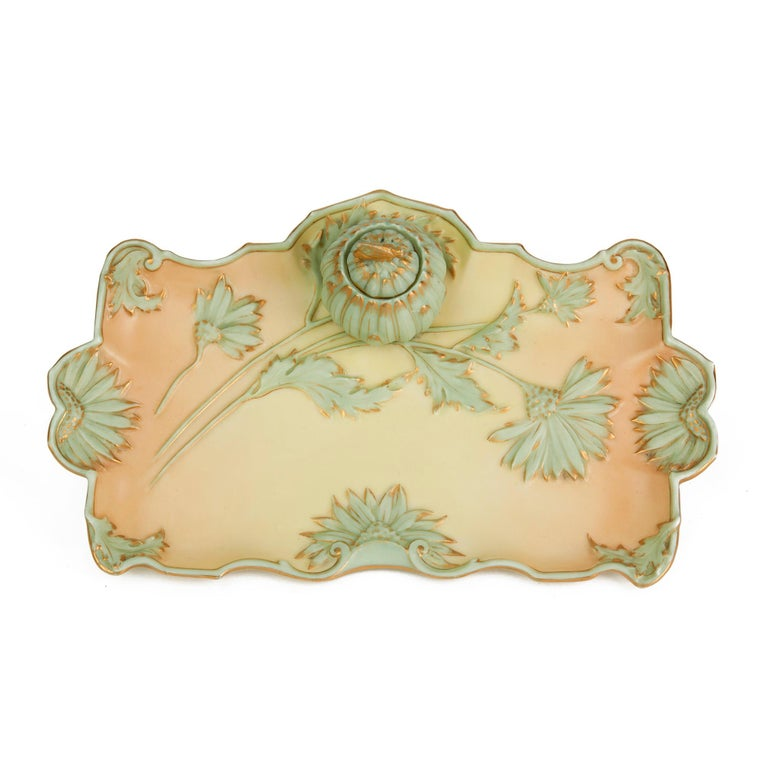 English Royal Worcester Art Nouveau Blush Porcelain Desk Stand Dated 1894 For Sale
