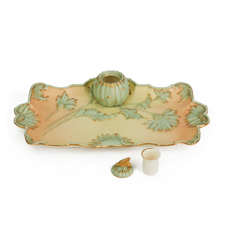 Royal Worcester Art Nouveau Blush Porcelain Desk Stand Dated 1894 For Sale 2