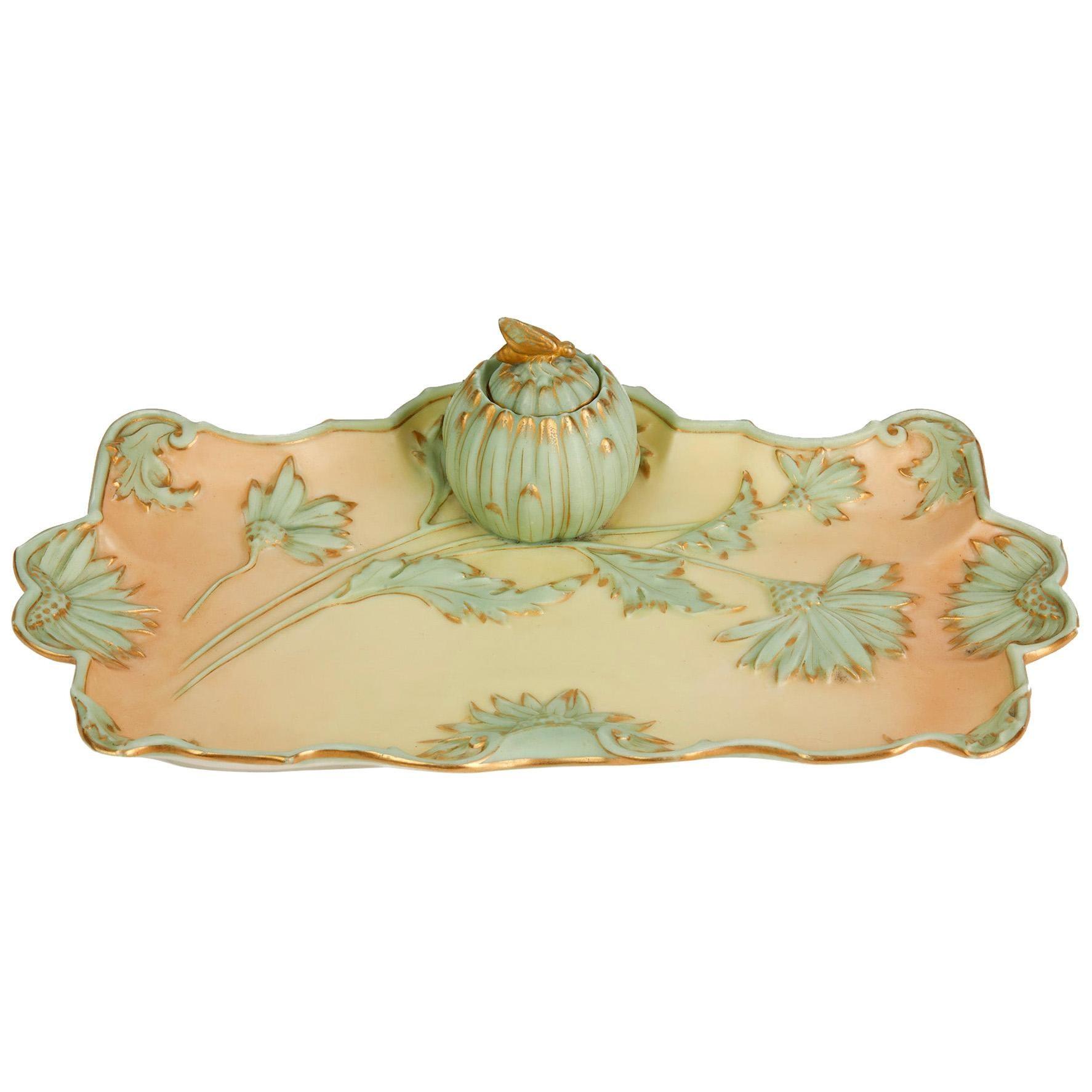 Royal Worcester Art Nouveau Blush Porcelain Desk Stand Dated 1894
