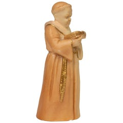 Royal Worcester Blush Ivory Porcelain Monk Candle Snuffer, 1904