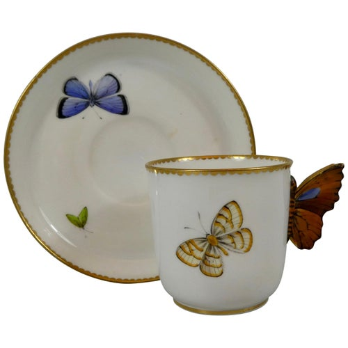 Royal Worcester 'Butterfly' Cup and Saucer, Dated 1880