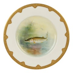 Royal Worcester Cabinet Plate Painted with a Pike by George B Johnson