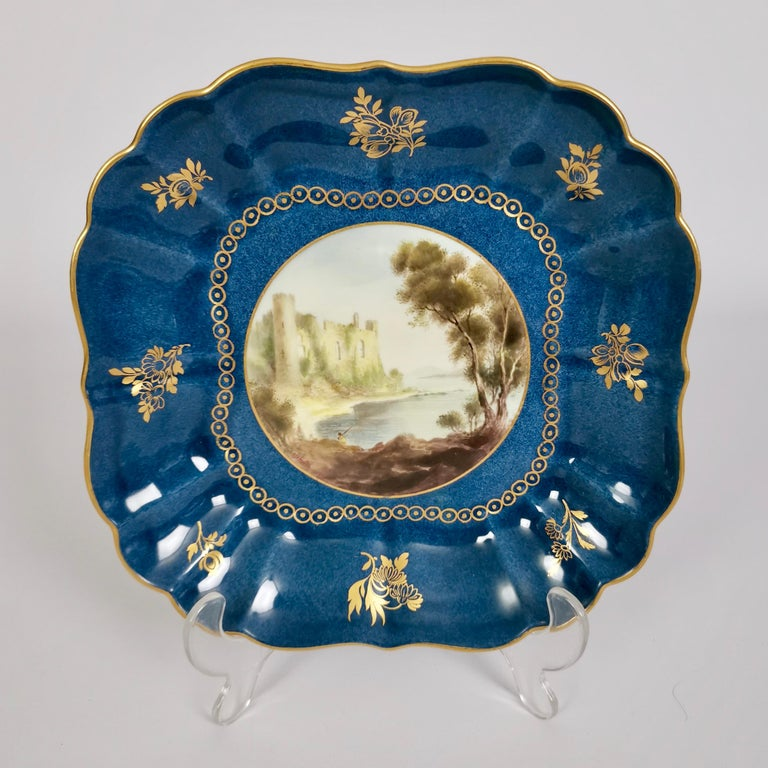 English Royal Worcester Dessert Service, Powder Blue with Landscapes G. Johnson, 1912 For Sale
