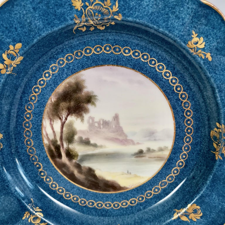 Hand-Painted Royal Worcester Dessert Service, Powder Blue with Landscapes G. Johnson, 1912 For Sale